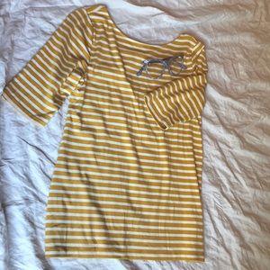 NWOT mustard yellow striped ballet tee